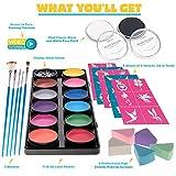 Face Paint Kit for Kids – 14 Premium Set, 12 Palette, 2 x .67 floz Black/White, 30 Stencils, 5 Brushes, Safe Kids Facepainting for Sensitive Skin, Professional Facepaints - Halloween Makeup Kit Body