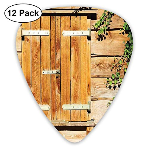 (Guitar Picks 12-Pack,Facade Of An Old Building Wooden Shutters Traditional House Summer Plants Nature)