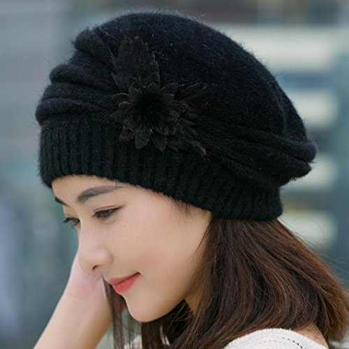 Beretta Beret SOUFUN Fashion Womens Flower Knit Crochet Beanie Beret Hat (Black)