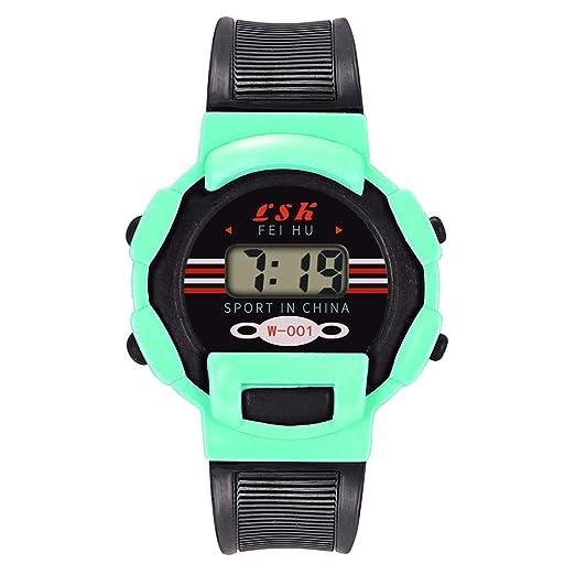 Loolik Relojes Infantiles,Casual Colorida Case Resina Impermeable Caso Digital Analógico Electrónica Deportes Reloj de los niños (Menta Verde): Amazon.es: ...