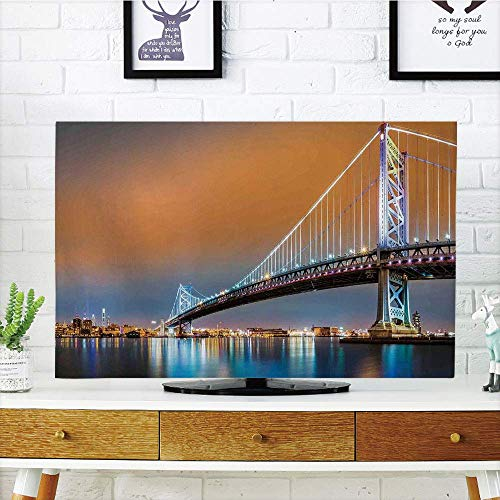 Glass Camden (CANCA LCD TV dust Premium Cover,Apartment Decor,Ben Franklin Bridge and Philadelphia Skyline Viewed from Camden Across The Delaware River Decorative,3D Print Compatible 37