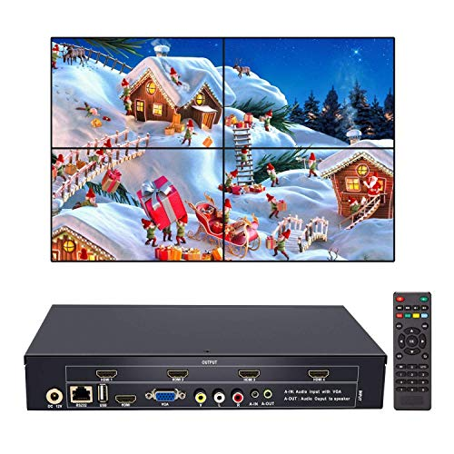 (2x2 Video Wall Controller USB+HDMI+VGA+AV Input and TV HDMI Output, Fully-Digital Processing Channel Inside 180 Degree, HD LCD Splicing Screen Seamless led TV Wall Monitor Display 1x3 1x4 2x1 1x2)