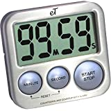 Digital Kitchen Timer - Stainless Steel - Strong Magnetic Back - Kickstand - Loud Alarm - Large Display - Auto Memory - Auto Shut-Off - Model eT-26 (Silver) by eTradewinds