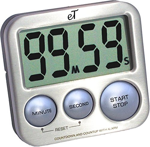 Digital Kitchen Timer Stainless Steel - Strong Magnetic Back - Kickstand - Loud Alarm - Large Display - Auto Memory - Auto Shut-Off - Model eT-26 (Silver) by eTradewinds