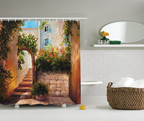 Ambesonne Lakehouse Decor Collection, Retro Stone Street Gate at an Ancient Town with Blooming Flowers and Plants Oil Painting, Polyester Fabric Bathroom Shower Curtain, 75 Inches Long, (Street Oil Painting)