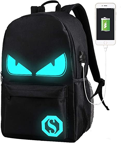 Lmeison Anime Cartoon Luminous Backpack with USB Charger Port and Lock & Pencil Case, Unisex Fashion Black Daypack Shoulder Rucksack Laptop Travel Bag College Bookbag