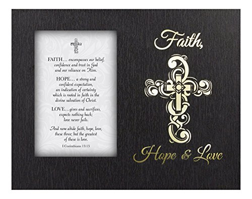 Glowing Treasures Framed Tabletop Christian Verses, Faith Hope Love by CB Gift