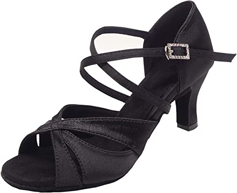 Details about  /1659 Black Leather Swing Ballroom Salsa Mambo Latin Dance Shoes heel 3 Size 7.5