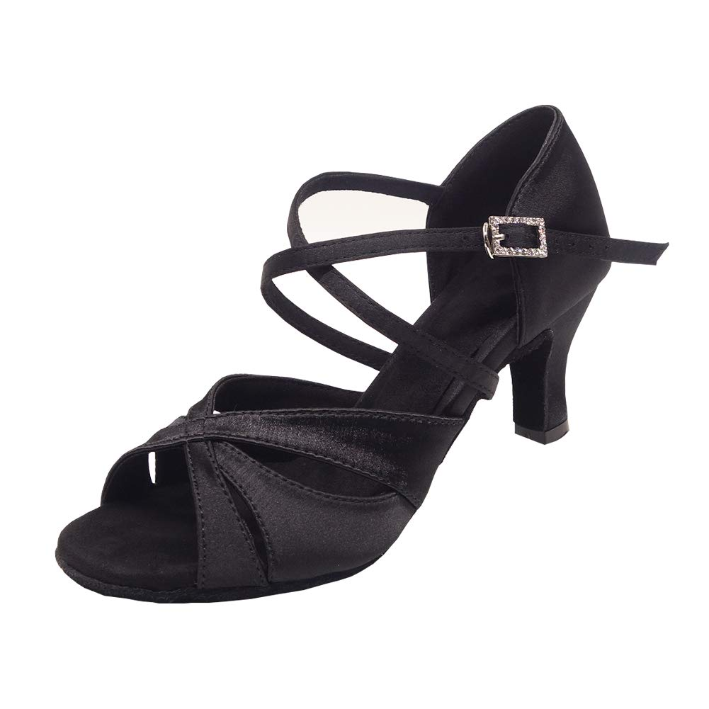 Women's Latin Dance Shoes Female's Ballroom Salsa Dance Shoes with 2.5'' Hell(A-Style Black Size 8) by Bulunka