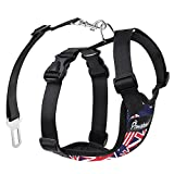 Pawaboo Dog Safety Vest Harness, Pet Dog Adjustable Car Safety Mesh Harness Travel Strap Vest with Car Seat Belt Lead Clip, Extra Large Size, Blue with Flags
