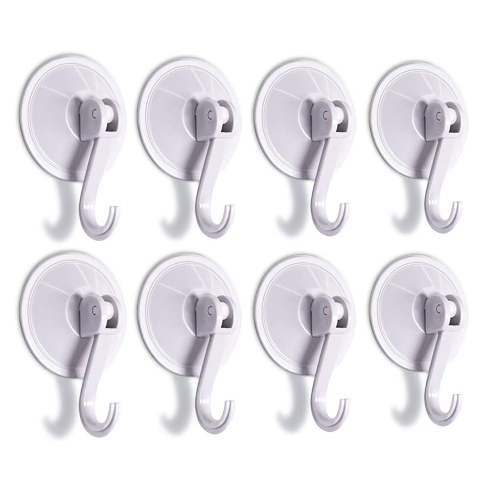 SUNDOKI Suction Cup Hooks, Kitchen Towel Hooks Removable Wall Vacuum Holder for Bathroom Tile, Glass and Mirror(8 Pack)