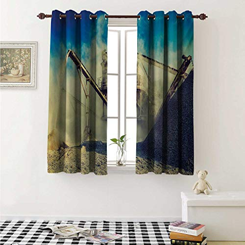 Industrial Thermal Insulating Blackout Curtain Rock Stone Crushing Machine Open Pit Mining Quarry Sand Dust Photo Curtains Girls Room W55 x L39 Inch Blue Pale Yellow Black