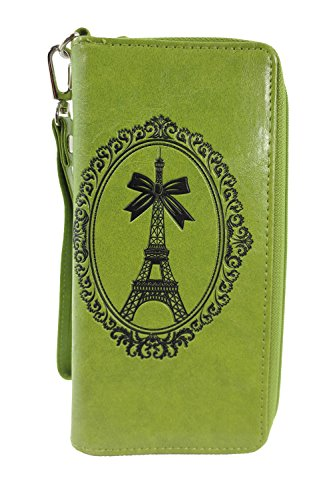 (French Kiss Paris Eiffel Tower Embossed Zip Around Wristlet Large Wallet (Green))