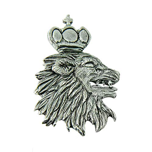 (Medieval Lion Head and Crown Pewter Lapel Pin, Brooch, Jewelry, G006)