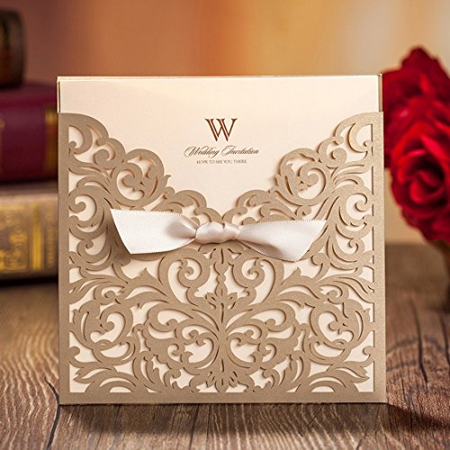 Square Laser-cut Lace Flower Pattern Wedding Invitations Cards For Wedding Birthday Bridal Shower with Ribbon Envelopes Printable Champagne Gold Tri Fold Paper(50pcs)