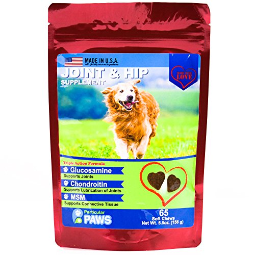 Glucosamine for Dogs - Treats - Joint & Hip Formula with MSM, Chondroitin and Hyaluronic Acid - 65 Soft Chews by Particular Paws (Image #1)