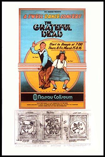 Grateful Dead Poster + Concept Sketches Nassau Coliseum 1973 Unique Test Print Artist Proof Signed By David Byrd - Dead Signed Grateful