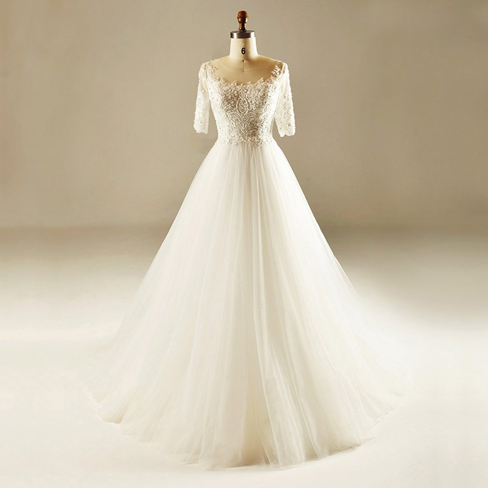 Loyatee Wedding Dresses A-Line Lace Appliques Beaded Half Sleeves White Bridal Gown