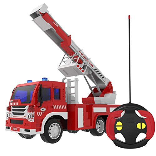 FUN LITTLE TOYS Remote Control Fire Truck RC Rescue Fire Fighting Truck Vehicle Learning Educational Toys 1:16 Simulation with Light 6 Wheels Batteries Included Red and White