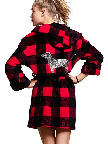 victorias-secret-pink-bling-plush-robe-red-pepper-gingham-x-small-small