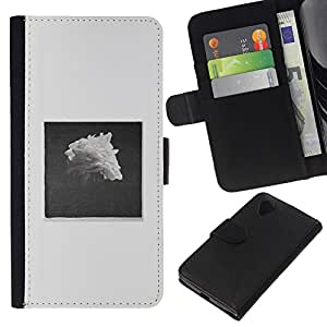 KLONGSHOP // Tirón de la caja Cartera de cuero con ranuras para tarjetas - Pile Negro Blanco Rose Art - LG Nexus 5 D820 D821 //