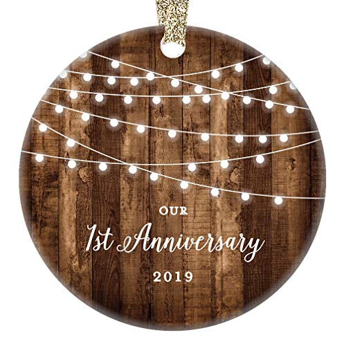 First Anniversary Gift - 1st Anniversary Gifts 2019 Dated First Anniversary Married Christmas Ornament for Couple Mr & Mrs Rustic Xmas Farmhouse Collectible Present 3