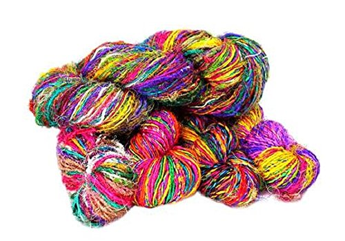 Paradise Fibers Recycled Sari Silk Yarn (Multi Color) - 1 Skein, 50 Yards, 100 Grams