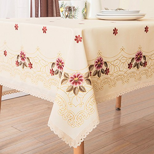 Decorative Red Floral Print Lace Water Resistant Tablecloth Wrinkle Free and Stain Resistant Fabric Tablecloths for Kitchen Room 60 Inch by 84 Inch - Print Tablecloth