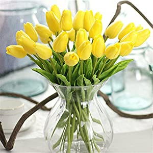 Rvbyjfg Tulip Artificial Flower Mini Tulip Wedding Decoration Flower Yellow 44