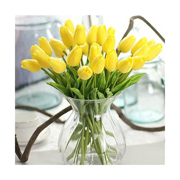 Rvbyjfg Tulip Artificial Flower Mini Tulip Wedding Decoration Flower Yellow