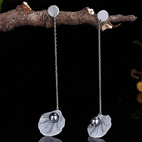 AieniD Frauen Ohrringe Sterling Silber Fallen Ohrringe für Damen Lüftertyp Perle Weiß