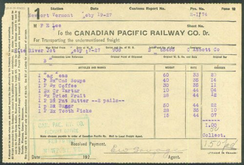 Canadian Pacific Railway peanut butter tooth picks 1927