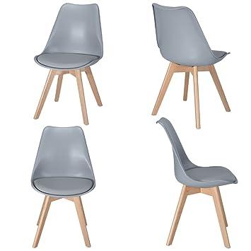 Juego de 4 sillas Tulip, respaldo de plástico y patas de ...