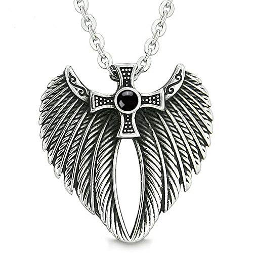 HANDMADE JEWELLERY - Archangel Wings Necklace Angel Wings Jewelry Stainless Steel Amulet Pendant Simulated Black Onyx Quality Necklace Jewelry Gift for Men - Women - Adult - Luxury Gift (Silver)