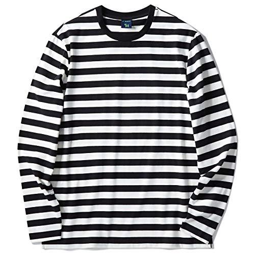 Zengjo Men's Casual Cotton Spandex Striped Crewneck Long-Sleeve T-Shirt Basic Pullover Stripe tee Shirt (M, Black&White Wide)