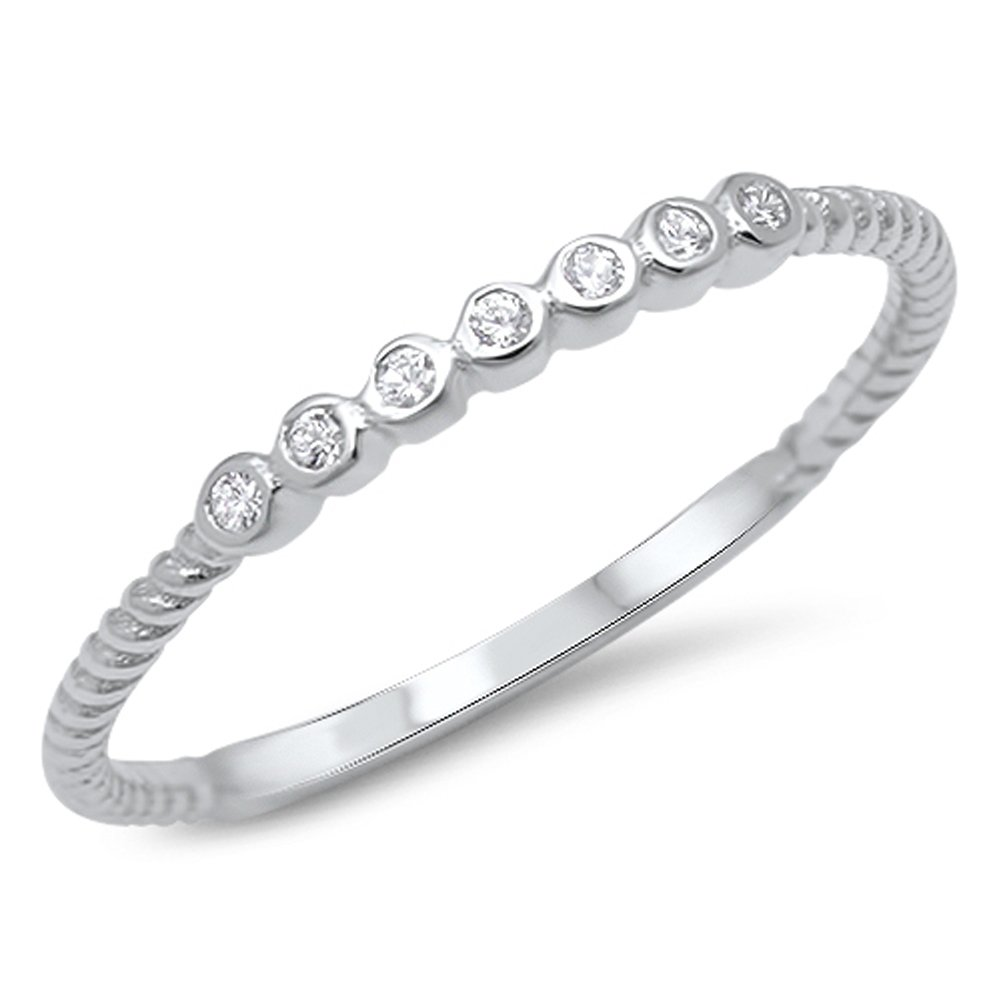 White CZ Cute Stackable Wedding Ring .925 Sterling Silver Thin Band Sizes 3-12 Sac Silver