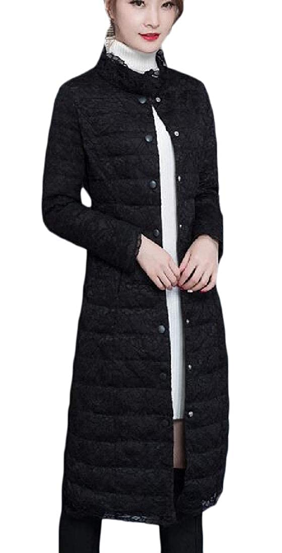 Black jxfd Womens Warm Stand Collar Long Sleeve Lace Puffer Down Jacket