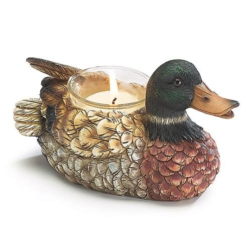 Duck Decor (Hand-Painted Resin Mallard Duck Shaped Voltive Candleholder)