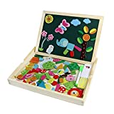 Wooden Writing Board Magnetic Jigsaw Puzzle Drawing White Blackboard Easel Toy Double Side for Kids Boys Girls Children Age 3+