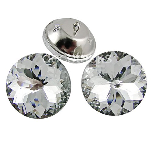 Flower Metal Buttons (decotacks 1 inch [25mm] Flower Clear Crystal Upholstery Buttons with Metal Loop for Sofa and Headboards, 24pcs/pk BTN0725-2)