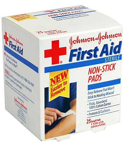 JOHNSON & JOHNSON Band-Aid First Aid Gauze Pads, 1 1/2 Inch x 2 Inch, 25 Count (Pack of (General Purpose Burn Kit)