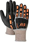 Majestic Glove 34-5337/M Dynma X15 Glove with Polyurethane Palm and TPR Impact Protection, Cut Level 3, Medium, Black (Pack of 12)