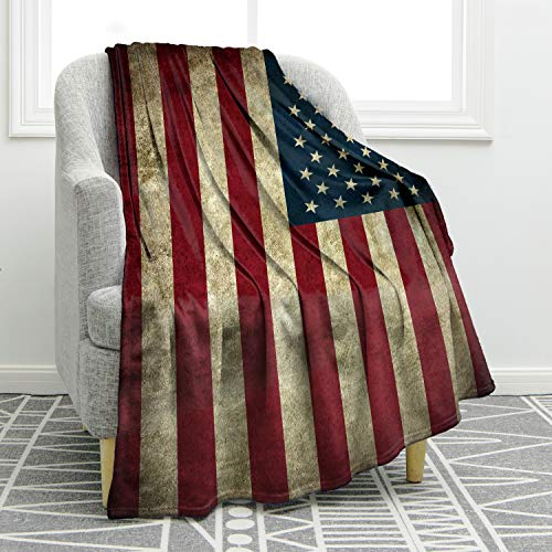 - Jekeno American Flag Blanket US Vintage Flag Soft Warm Throw Print Blanket for Couch Bed 50