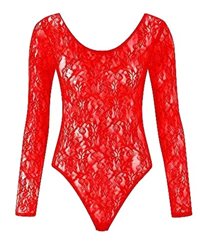 Nuevos Para Mujer Floral Lace BODY para gimnasia de manga larga cuerpo encaje Top 8–�?6 Rosso