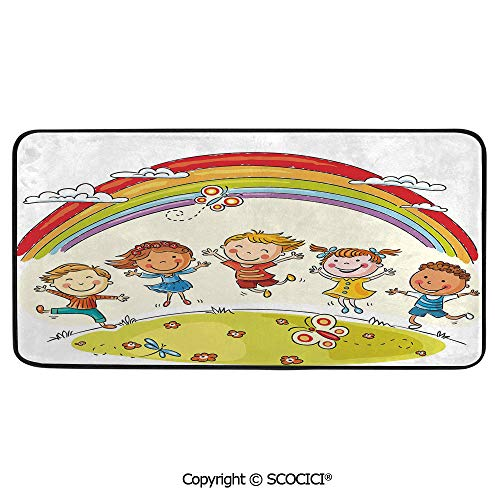 Rectangle Rugs for Bedside Fall Safety, Picnic, Art Project, Play Time, Crafts, Large Protective Mat, Thick Carpet,Rainbow,Kids Jumping with Joy on a Hill Under Rainbow Cartoon Style,39