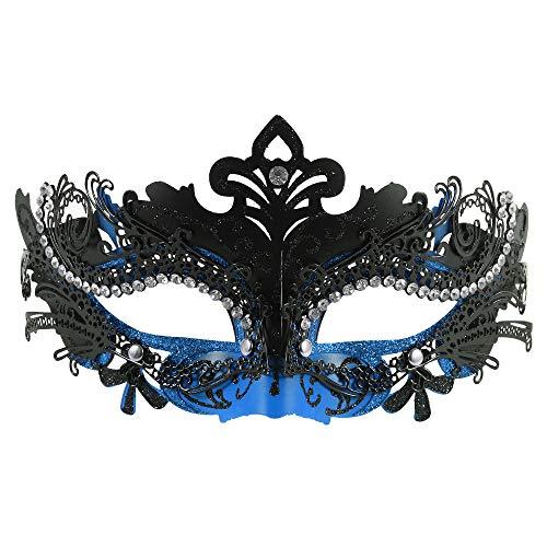 FaceWood Masquerade Mask for Women Ultralight Metal Mask Shiny Rhinestone Venetian Pretty Party Evening Prom Ball Mask.(21) ()
