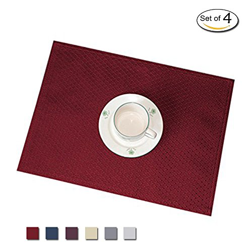 Eforcurtain Elegant Waffle Woven Fabric Place Mats Spillproof Oilproof Table Mats for Dining Room, Set of 4 Piece, 13 By 19-inch, Red (Merlot Room Set Dining)