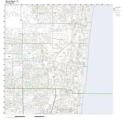 Amazon Com Zip Code Wall Map Of Boca Raton Fl Zip Code Map