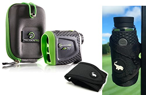 Precision Pro NX7 Pro (Slope Option) Golf Rangefinder with Magnetic Golf Cart Mount (Black) Bundle | Includes Golf Laser Rangefinder, Magnetic Golf Cart Mount, Carrying Case & One (1) CR2 - Coupon Hit Code