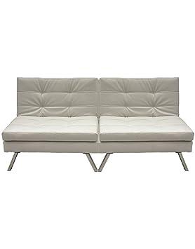 Sofá cama doble moderno de polipiel blanco: Amazon.es: Hogar